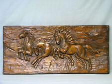 """""""Rennende Pferde"""" alte große Handgeschnitzte massiv Holz Relief Wand-Platte 1950"""