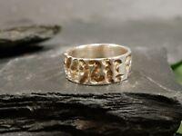 Ausgefallener 925 Silber Ring Vintage Retro Struktur Muster Elegant Brutalist