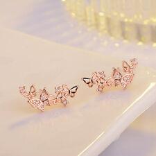 Women Lady Fashion Elegant Rose Gold Silver Zircon Butterfly Ear Stud Earrings
