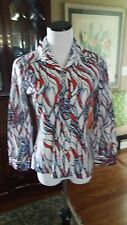 Vintage Red White Blue and Light Blue Blouse S Mod Disco Pop Art Perfection