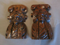 ANTIQUES PAIR OFF WOODCARVING FRENCH CARYATIDES GOTIC STYLE