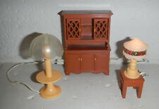 Vintage Fisher Price Dollhouse Furniture Decoration Set with Lights Hutch #263
