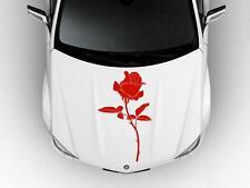 ROSE Flower Hood Car Decal Race Sports Grpahics Wrap Art Sticker Truck Red B62
