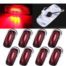 8pcs Red Fish Shap Side Marker Light 3 LED Fender Rear Lens For Car Truck Tailer