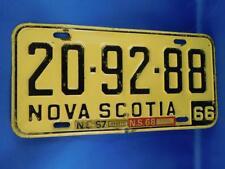 NOVA SCOTIA LICENSE PLATE 1966 20 9288 1967 1968 TAG CANADA CAR SHOP SIGN