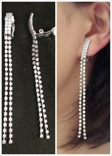 "CLIP ON 3.2"" Long RHINESTONE Sparkly Tassel Earrings Diamante Chandelier 8.5cm"