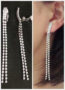 "CLIP ON 3.2"" Long RHINESTONE Sparkly Tassel Earrings Diamante Chandelier 8.5cm"