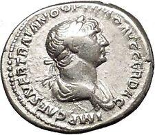 TRAJAN 114AD Authentic Ancient Silver  Roman Coin Virtus with parazonium i53357