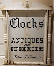 Vintage Foster Campos New England Clock Maker Original Store Advertising Sign