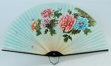 "Vintage Asian Floral Butterfly Design Hand Fan - 13 1/2"" W x 7"" H"