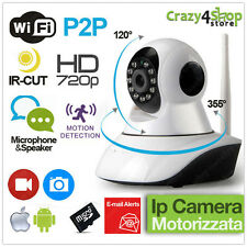 TELECAMERA IP CAMERA HD 720P WIRELESS LED IR LAN MOTORIZZATA WIFI RETE