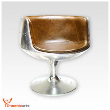 Vintage Real Leather Swivel Chair Armchair Retro Brown Bucket Seat 702