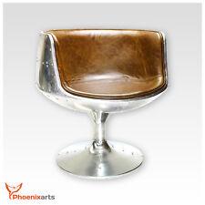 Vintage Real Leather Swivel Chair Armchair Retro Braun Bucket Seat 702