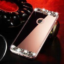 Bling Mirror Crystal Diamond Soft Case Cover For iPhone Samsung LG Huawei Phones