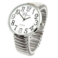 Silver Super Large Size Round Face Geneva Stretch Band Watch