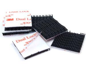 10 x Black 3M DUAL LOCK PADS, 25mm x 25mm, Self Adhesive Heavy Duty Tape, SJ3550