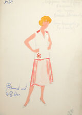 1964 Theatre costume watercolor painting woman portrait signed