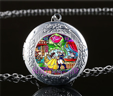 Beauty and the beast Photo Glass Tibet Silver Chain Locket Pendant Necklace#S24