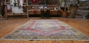 "Bohemian Antique Cr1900-1939's Wool Pile Muted Dye Oushak Rug 3'9""×6""8"""