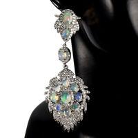 Unheated Oval Fire Opal Rainbow Flash 7x5mm Cz 925 Sterling Silver Big Earrings