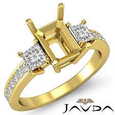 Diamond Engagement Fine 3 Stone Ring Princess Emerald Mount 14k Yellow Gold 0.8C
