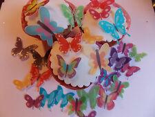 40 Precortada Brillante Comestible wafer/rice Papel Mariposa cake/cupcake Toppers