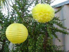 24x yellow paper pom poms lanterns wedding party nursery baby shower decoration