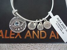 Alex and Ani EVIL EYE  Russian Silver Charm Bangle New W/ Tag Card & Box