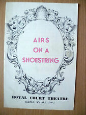 Royal Court Theatre Programme- MAX ADRIAN MOYRA FRASER in AIRS ON A SHOESTRING