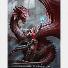 Scarlet Mage Anne Stokes Wall Plaque Gothic Dragon Sorcery Fantasy Art Canvas