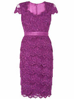 ex Jacques Vert Dress Tiered Lace Purple Occasion Dress Wedding, Races