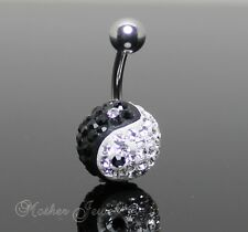 BLACK & WHITE YING YANG  BALL SILVER 316L SURGICAL STEEL BELLY NAVEL RING BAR