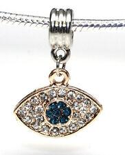 Hamsa Evil Eye Charm Dangle Spacer Beads For Snake Chain Charm Bracelet