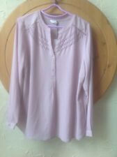 👀New M & S CLASSIC UK 18 Dusted Mauve Chiffon Tunic Blouse👚-Embroidered £29.50