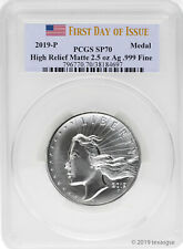 2019-P American Liberty High Relief Matte 2.5 oz Silver Medal Pcgs Sp70 Fdi
