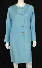 HERMES Vintage Sky Blue Silk Linen CHAIN D'ANCRE Toggle Tunic Dress 44