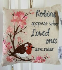 Robin Cushion Remembrance Robins Appear When Loved Ones Are Near Mini Cushion