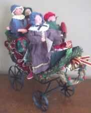 CHRISTMAS dickens sleigh CAROLERS singers RESIN DOLLS sled VICTORIAN decoration