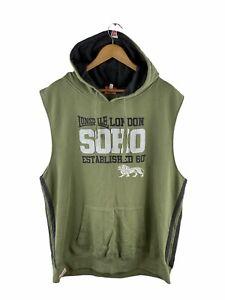 Lonsdale Hooded Jersey Vest Mens Size 2XL Green Sleeveless Front Pocket Logo
