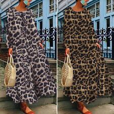 ZANZEA Womens Full Length Plus Size Leopard Print Dress Long Sleeve Maxi Kaftan