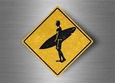Autocollant sticker laptop macbook panneau route safari attention surf surfeur