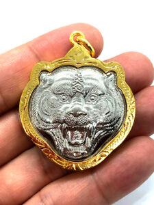 Tiger Head Talisman Pendant Silver LP Pern 22K Gold Case Thai Buddha Amulet Rare