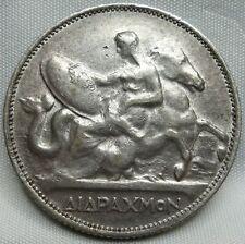 GREECE silver 2 Drachmai 1911 Paris Achilles About XF #B16
