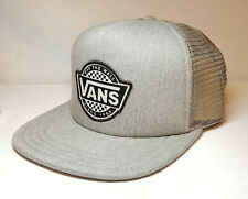 43857956607 VANS Retro Check Tru Trucker Hat O s Adjustable Snapback Logo Gray   2021