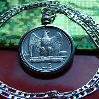 """1927-1930 Italian 5 Lire Silver Eagle Coin Pendant on a 28"""" 925  Silver Chain"""
