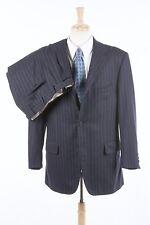 Mens Italian Suit 42 R by CARUSO in Navy Blue Pinstripe Italian Wool Flannel