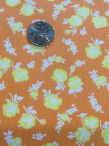 Vintage Style Floral Cotton Fabric Yellow On Orange