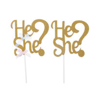 He or She Cake Toppers Cupcake Picks New Baby Shower Birthday Party Decor TDC