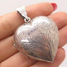 Vtg 925 Sterling Silver Heart Handmade Locket Pendant
