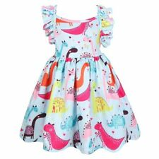 Girls Dinosaur Dress  Children Dress Animal Pattern Kids Hollow Backless Dresses